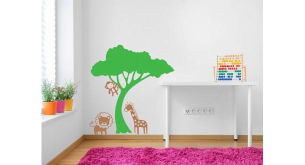 Leeuw, giraffe en aapje