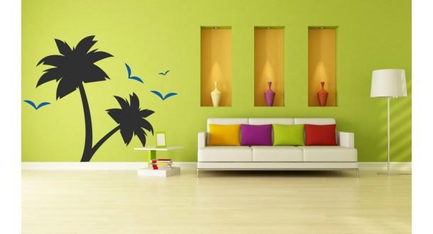 Palmbomen met vogels
